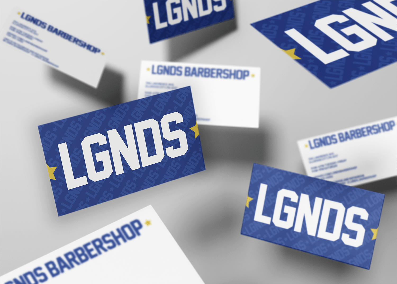 LGNDS business cards mockup